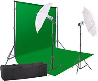 StudioFX 800W Chromakey Green Screen 10ft x 12ft Backdrop Photography Video Lighting Kit - Background Support System Included - Kaezi CH15-1012G vs-1
