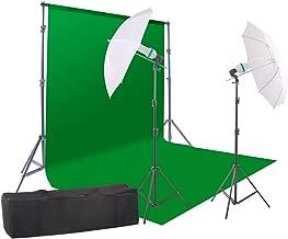StudioFX 800W Chromakey Green Screen 10ft x 12ft Backdrop Photography Video Lighting Kit - Background Support System Included - Kaezi CH15-1012G vs-1