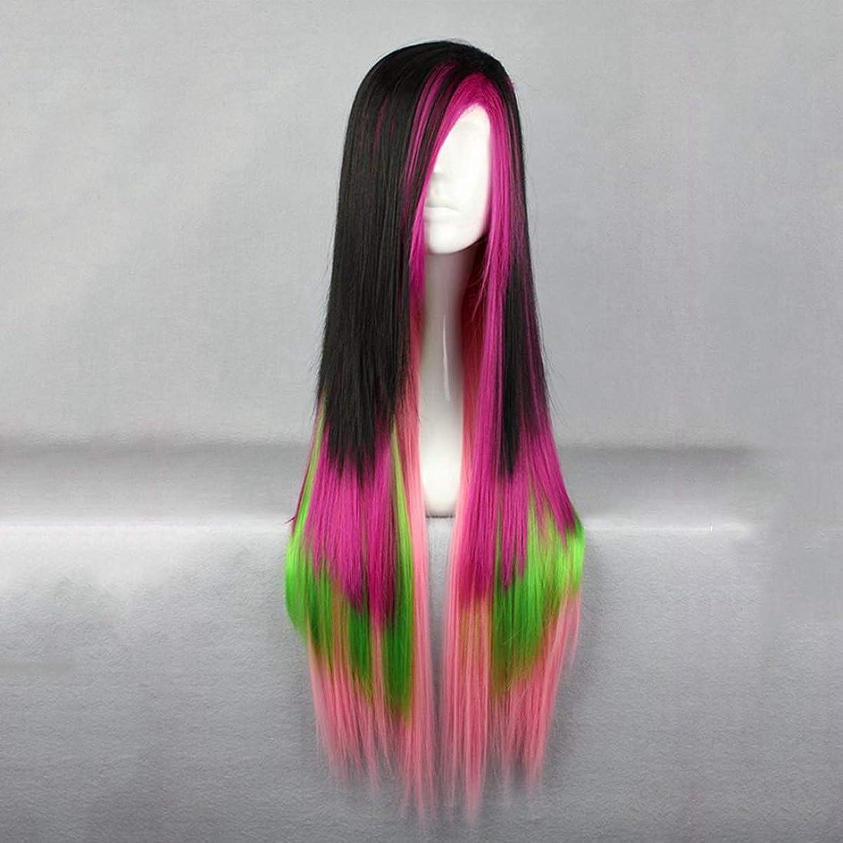 ことわざダッシュ接続されたBOBIDYEE ハロウィーンかつら日本の原宿スタイルロングストレートヘアロリータウィッグコスプレウィッグ複合ヘアレースウィッグロールプレイングウィッグ (色 : Black color mixing)