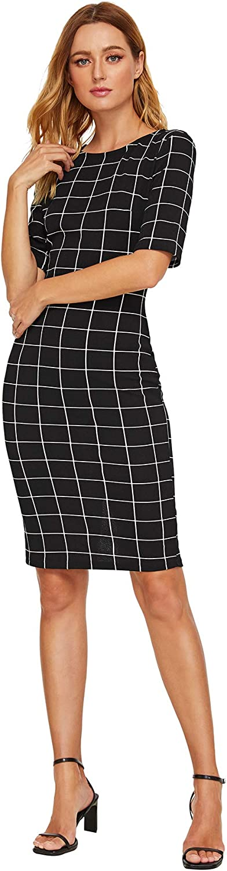 SheIn Women's Short Sleeve Plaid Grid Round Neck Elegant Sheath Pencil Bodycon Dress