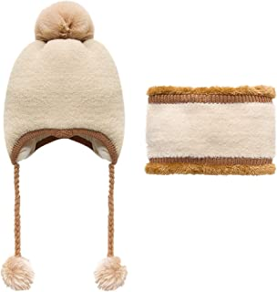 WOCACHI Baby Fleece Wool Earflap Beanie Cap Scarf 2PCS Sets Infant Fluffy Pom Pom Winter Warm Earmuffs Hats Set