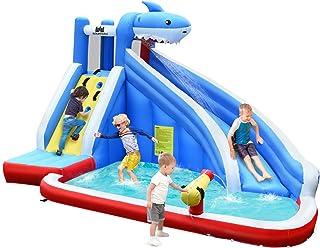 COSTWAY Castillo Hinchable para Niños con Tobogán Acuático 390x305x240centímetros Parque Acuático Inflable Sin Soplador