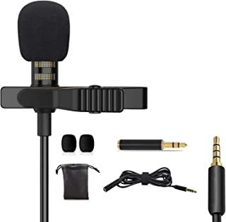 VARIPOWDER Microphone,Professional Lavalier Lapel Microphone Omnidirectional Condenser Mic for iPhone Android Cellphone,Cl...