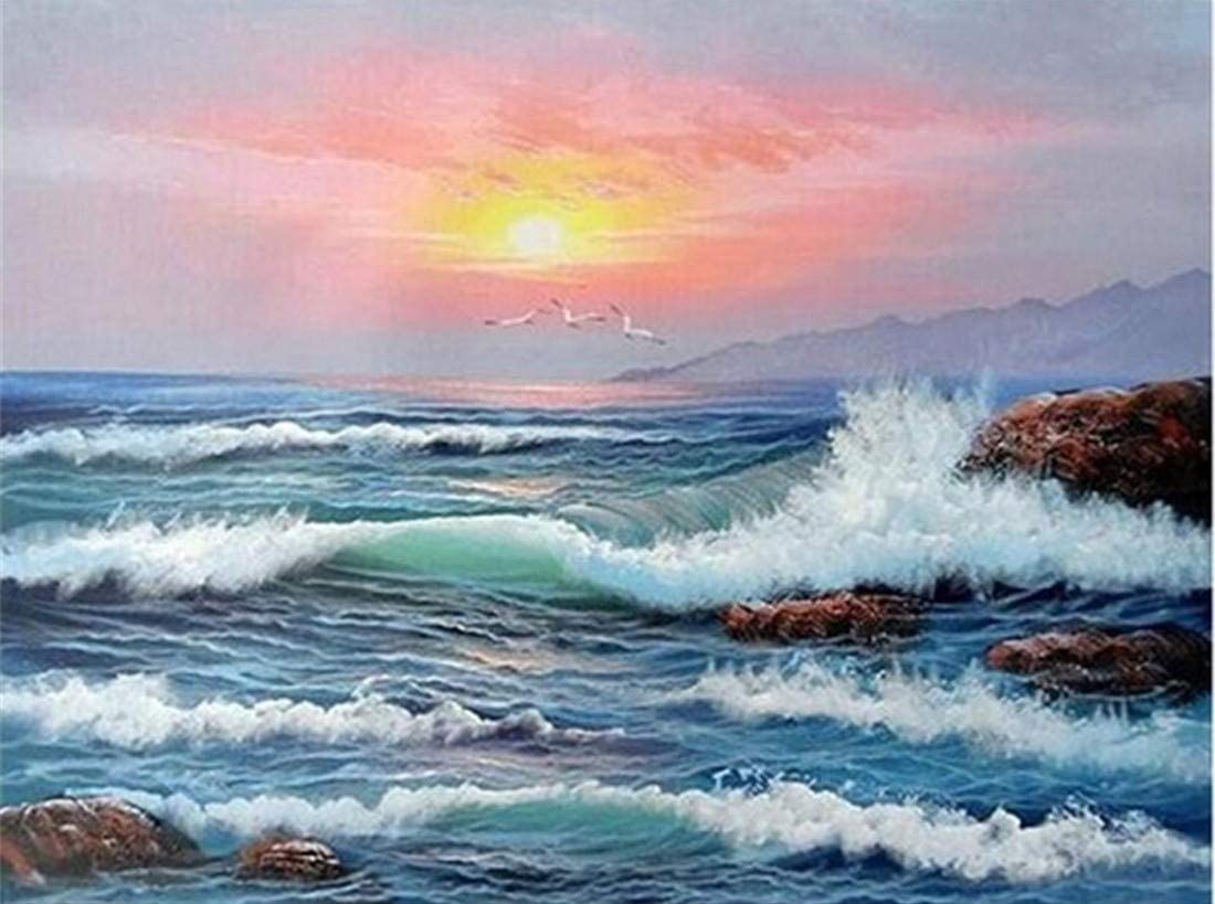 CaptainCrafts New DIY Oil Painting Paint by Numbers Adult Kit 16x20for Beginner Kids, Linen Canvas New Year Home House Decor - Sea Wave Sunset Seagull (with Frame)