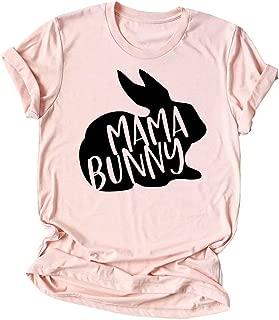 KIDDAD Women's Easter Mama Bunny Shirtr Rabbit Print Funny T-Shirt Short Sleeve Mom Casual Graphic Tees Top