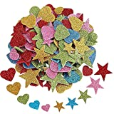 Adesivi schiuma, 200 pezzi Glitter Autoadesivo in Schiuma per Stelle e Forme Cuore, Adesivo Scintillante per Decorazione Domestica della Parete della Stanza della Casa DIY Abbellimento