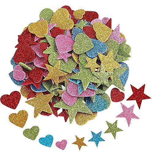 Glitter Schaumstoff Sticker, 200 Stück Selbstklebendes Stern und Herz Formen Schaumstoff Aufkleber, Glitzernde Aufkleber für Startseite Zimmerwand DIY Fertigkeit Verzierung Satz