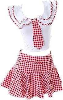 RONGYEE Erotic Underwear Student Uniform High School Uniform Underwear Set Cosplay Lattice Pleated Skirt Lovely Sexy Uniform