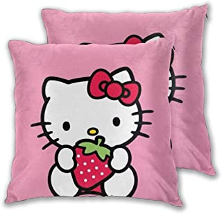 LBAOZHEN Hello Kitty with Strawberry Set of 2 Soft Cozy Decorative Throw Pillow Covers Sofa Throw Pillow Cover - Square Decorative Pillowcase