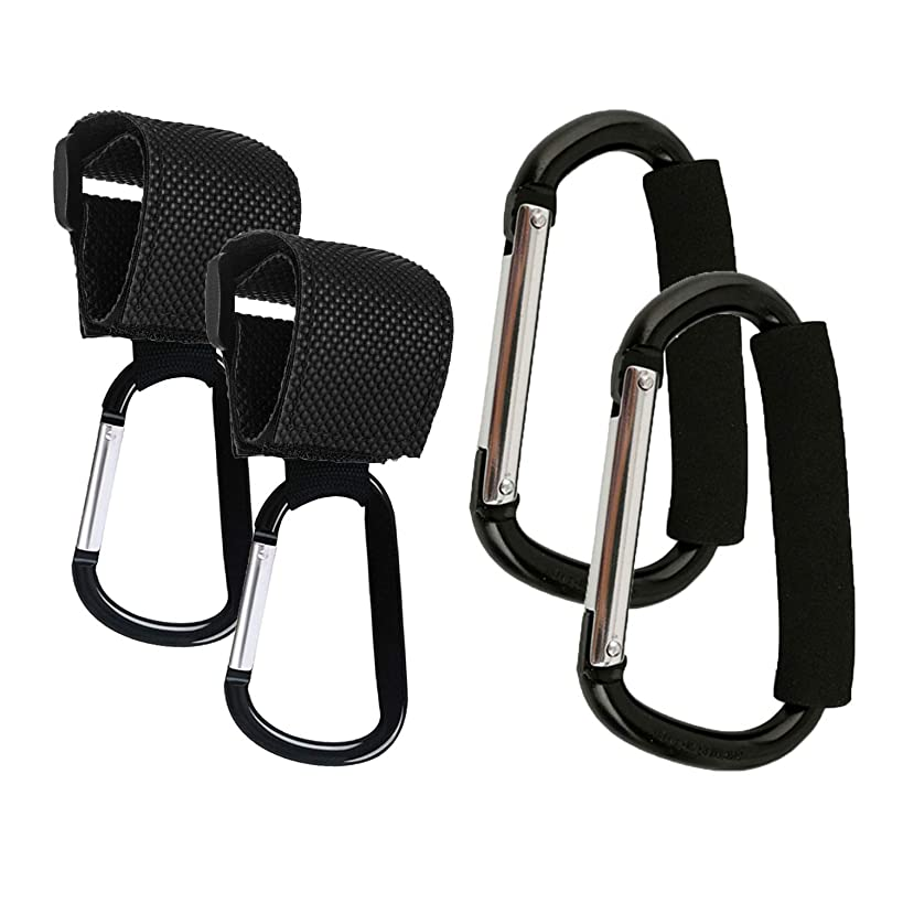 Stroller Hooks, 4 Pack Strap Hooks and X-Large Stroller Organizer Hook Clip for Purse Shopping & Diaper Bags