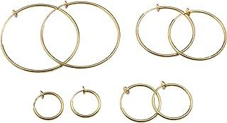 Evelots Clip On Spring Hoop Earring-Gold/Silver-Pinch/Piercing/Nickel Free-Set/4