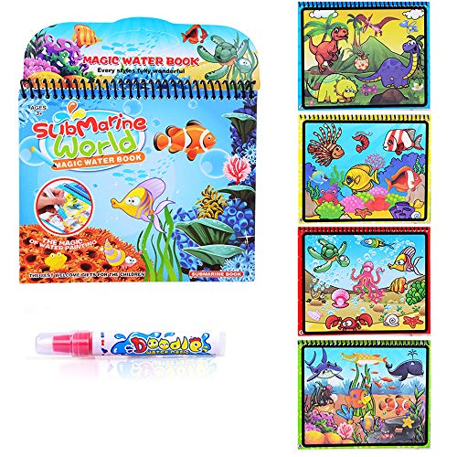 Fairydreamy Waterpainting Coloring Book Unisex Kids Magic Reusable Water Drawing Book with Water Pen Graffiti Painting for Toddlers (Underwater World Series)