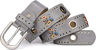 SGJFZD Fashionable New Rivet Ladies Belt Flower Wide Wild Jeans Belt Belt (Color : Grey, Size : 110cm)