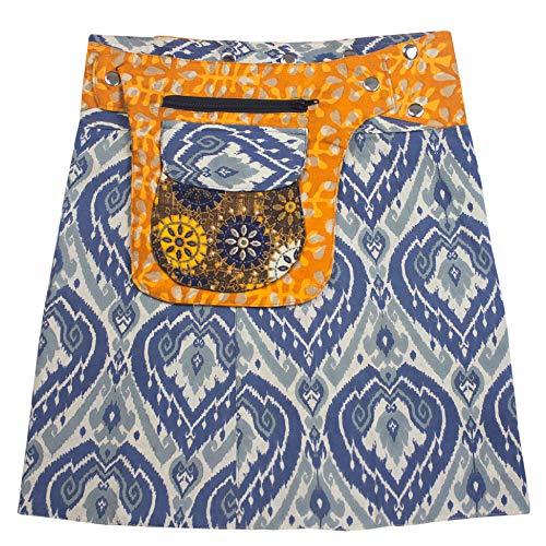 Sunsa Damen Rock Minirock Sommerrock Wickelrock aus luftiger Baumwolle, 2 Designs Röcke in einem, Größe verstellbar, Frau Bekleidung, Geburtstag Geschenk für Frauen, Boho Bekleidung 15745