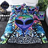 Trippy Alien by Brizbazaar Bedding Alien Skull Duvet Cover Psychedelic Space Comforter Cover Watercolor Colorful Abstract Bed Set 3 Piece Queen Size Bedspreads for Adults Men Boys