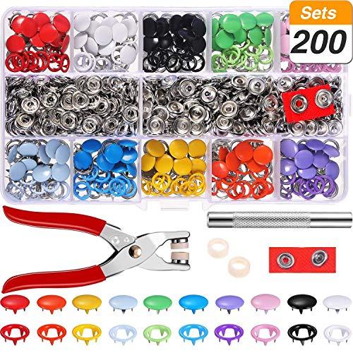 Qfun Druckknopf Set mit Zange, Jersey Druckknöpfe,200 Sets Prym Druckknöpfe Metall, 10 Farben...