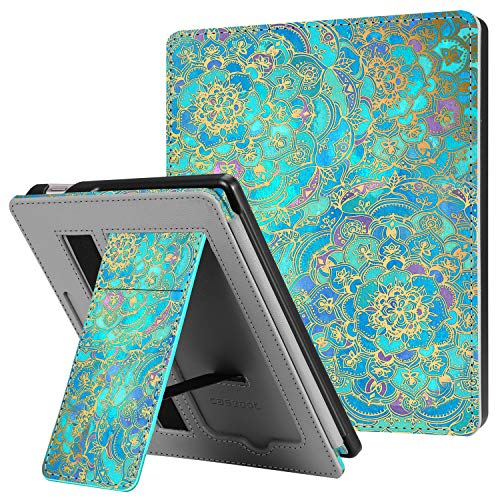 CaseBot Stand Case for All-New Kindle Oasis (10th Generation, 2019 Release and 9th Generation, 2017 Release) - Premium PU Leather Sleeve Cover with Card Slot and Hand Strap, Shades of Blue
