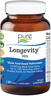 Longevity Multivitamin for Men Over 40 - Super Energetic with Superfoods, Minerals, Enzymes, Vitamin D3, B12, Biotin - 120...