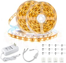 Led Strip Lights, 32.8ft/10m 3000K 600 LEDs SMD2835 Flexible Warm White Led Tape Light Kit with Power Adapter for Kitchen ...