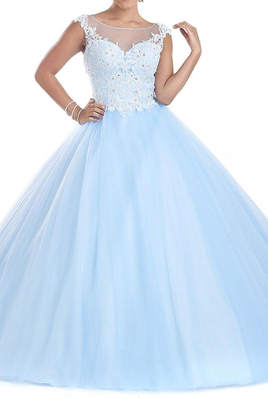 Zhu Li Ya Women's Appliques Lace Tulle Pageant Prom Quinceanera Dresses