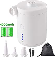 chamvis Portable Electric Air Pump for Inflatables,4000mAH Battery Powered USB Rechargeable Mini Electric Pump with 3 Nozzles for Air Mattress, Pool Floats, Swimming Ring, Air Bed(White)