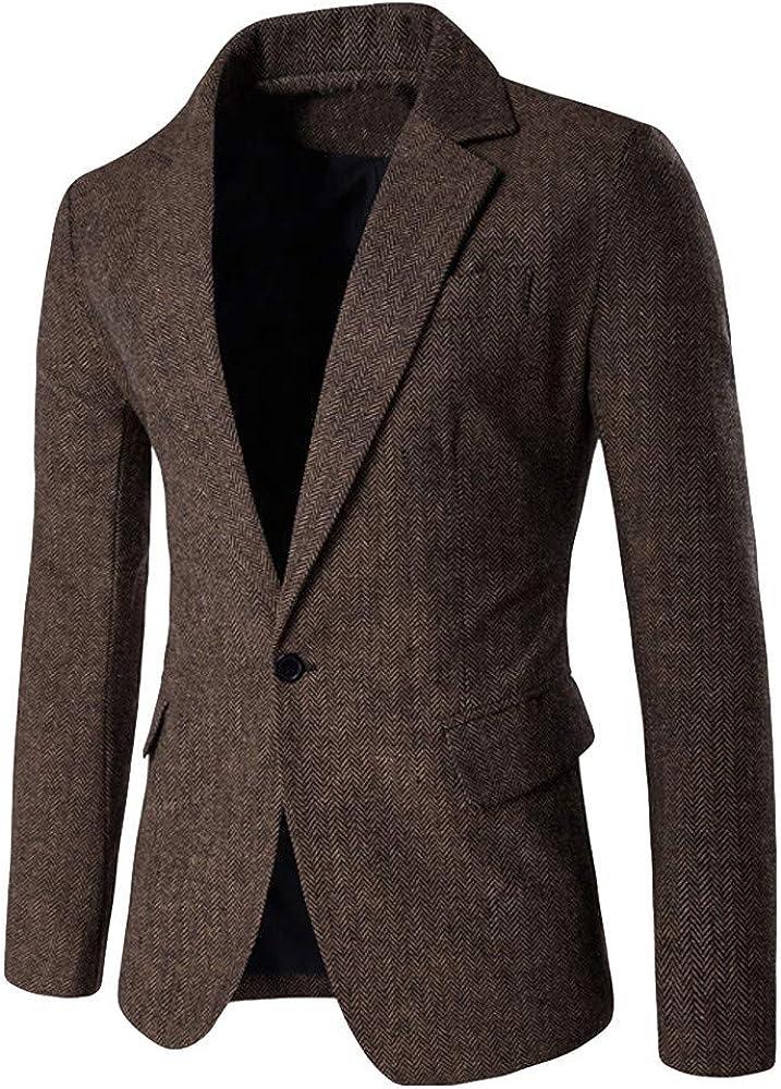 Baohooya Chaqueta de Trajes para Hombre - Blazer con Un Botón Versión Corta Color SóLido Traje Suit Hombre Slim Fit Casual Negocios Boda Esmoquin Abrigo