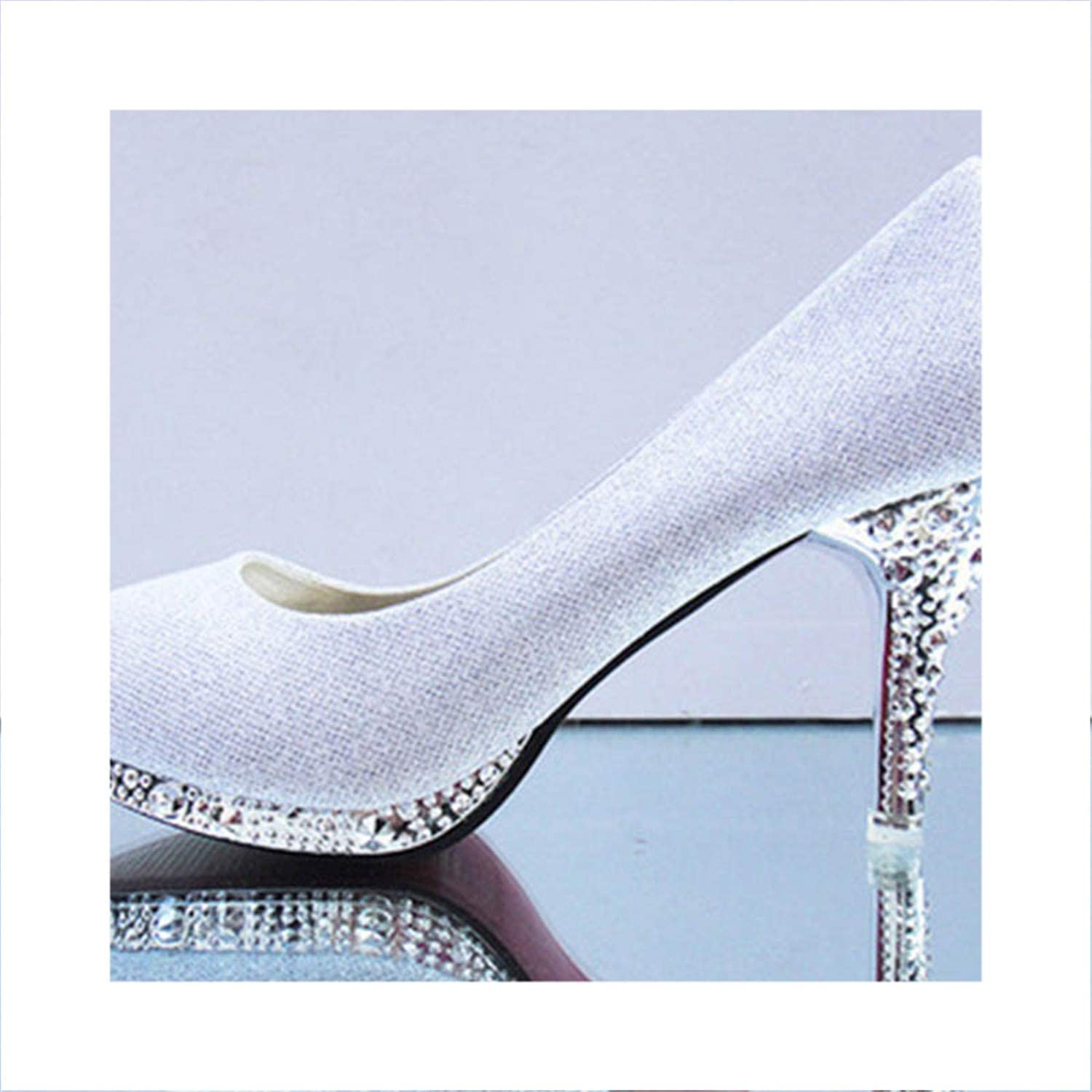 Sexy High Heels Wedding Pumps Ladies Shallow Slip On Rhinestone Glitter shoes