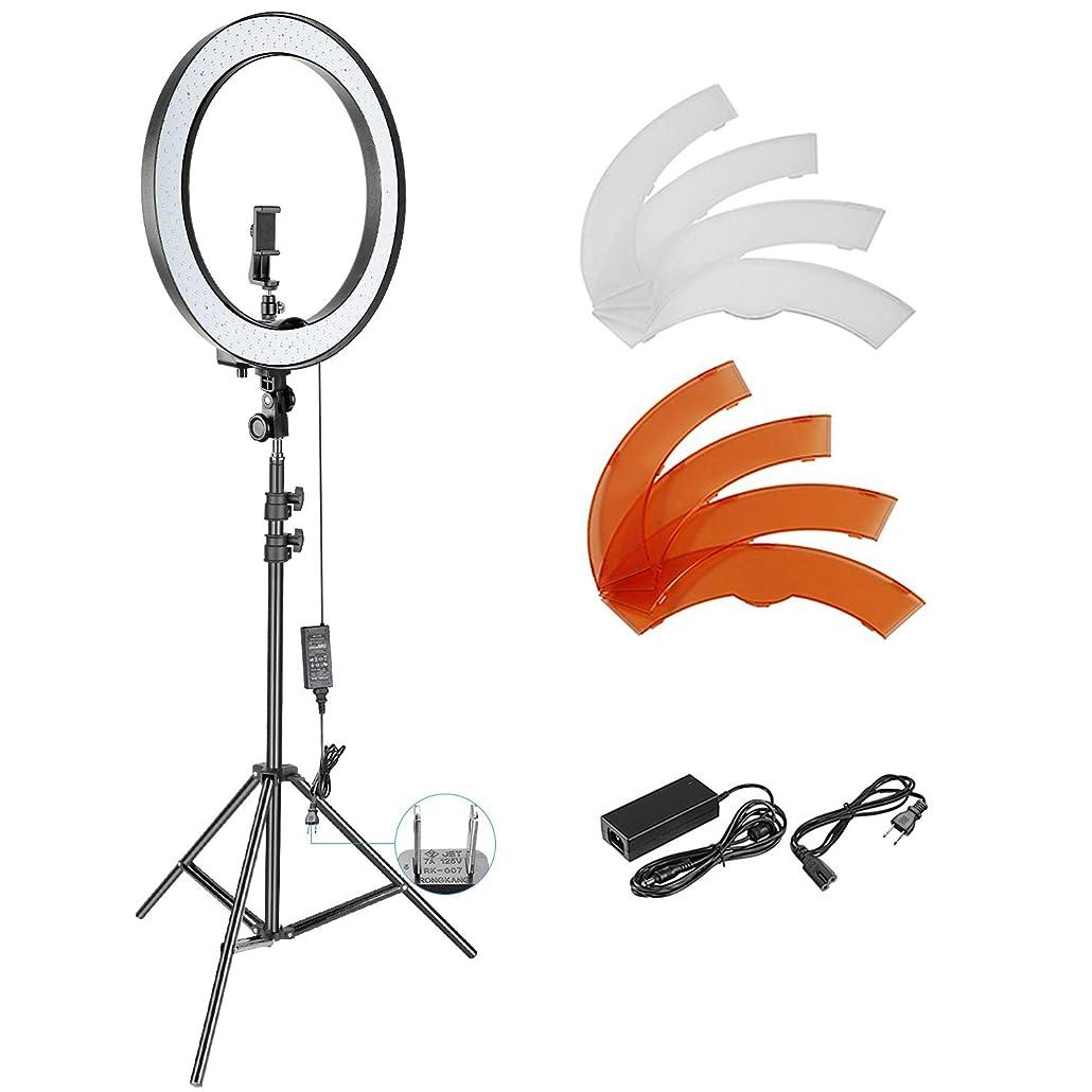 コンテンポラリー買い物に行くスキーNeewer 外径18in 調光可能なSMD LEDリングライト照明キット ライトスタンド、スマートフォンホルダー、ホットシューアダプター付き 肖像画、YouTubeビデオ撮影用
