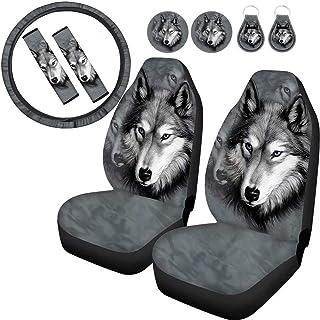 Conjunto completo Seanative de acessórios para lobos de automóveis 9 peças, capas de assento de carro conjunto de 2 + 2 pe...