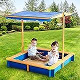 Teamson Kids Garden Outdoor Summer Children's Sand Box Wood / Blue TK-KF0003