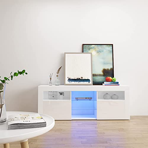 wholesale COSVALVE High-Gloss Fronts LED-Light TV Stands for 60 Inch Flat Screen, Storage Shelves Entertainment Center,Corner 2021 TV Console for Small Living Room, TV Media discount Console Furniture,White online sale