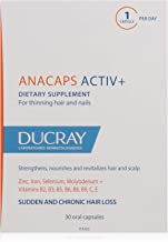Ducray Anacaps ACTIV+, Dietary Supplement for Healthy Hair & Nails, Biotin, Gluten-, Soy-Free