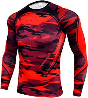 Men's Compression T-Shirt Workout Tight Tops Cool Dry Moisture Wicking Base Layer,C,M
