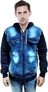 Zeki Men's Winter Warm Hooded Denim Jacket (Blue)