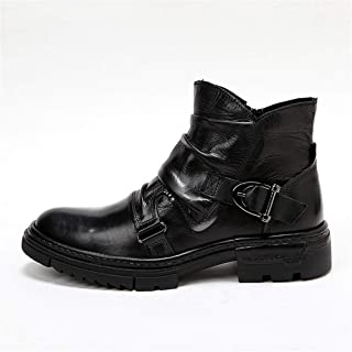 XZXZ Men's Shoes Boots Short Boots Retro Side Zipper Leather Martin Boots Short Tooling Boots Martin Boots Fashion Men's Boots 38-43,Black,39