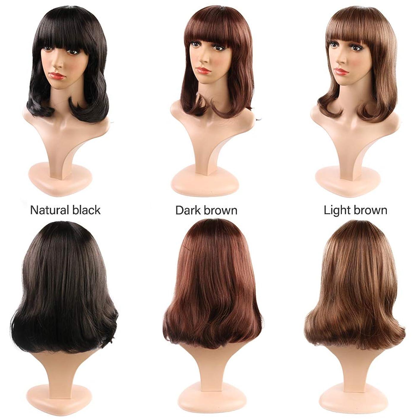 驚かす生き残りますお気に入り女性のためのストレートフラット前髪ショートボブウィッグ合成かつら耐熱完全な頭部の髪の交換ウィッグミディアムの長さ (Color : Light Brown)