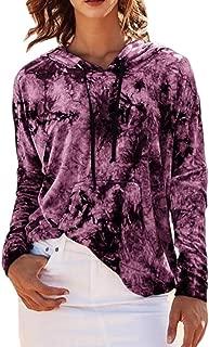 Women's Relaxed Fit Tie-Dye Hood Pullover Kangaroo Pocket Sweatshirt