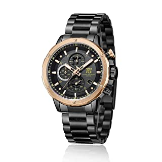 T5 H3588G-D Two-Tone Round Stainless Steel Analog Watch for Men - Black
