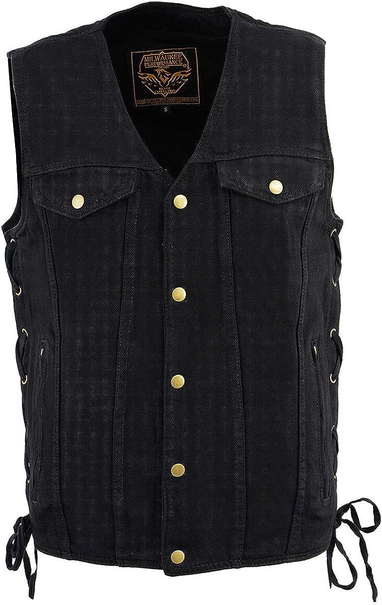 Milwaukee Leather DM1360 Men's Black Side Lace Denim Vest with Chest Pockets
