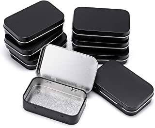 OwnMy 8 PCS Rectangular Metal Empty Tins Box Container with Hinged Lid, Mini Portable Box Containers Small Storage Kit, Home Organizers, Storage Boxes for Crafts Gifts Pills Jewelry (Black)