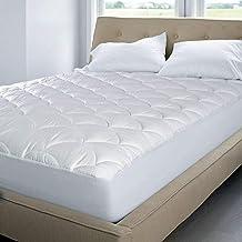 Blue Ridge Home Fashion 350 Thread Count Cotton Damask Dual Action Mattress Pad, White, Full