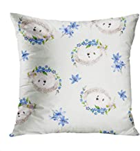 Benxii Throw Pillow Cover Hedgehog Colorful Watercolor Floral Blossom Home Durable Soft Decorative Polyester Pillowcase Square Cushion Couch for Sofa 18x18 Inches