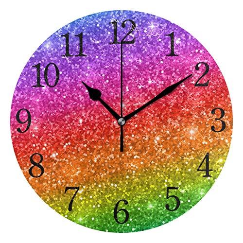 WowPrint Wanduhr, Regenbogen-Pailletten-Muster, Acryl, rund, Nicht tickend, dekorative Kunst-Malerei für Büro, Klassenzimmer, Schlafzimmer, Wohnzimmer, Bad, Küche, Dekor