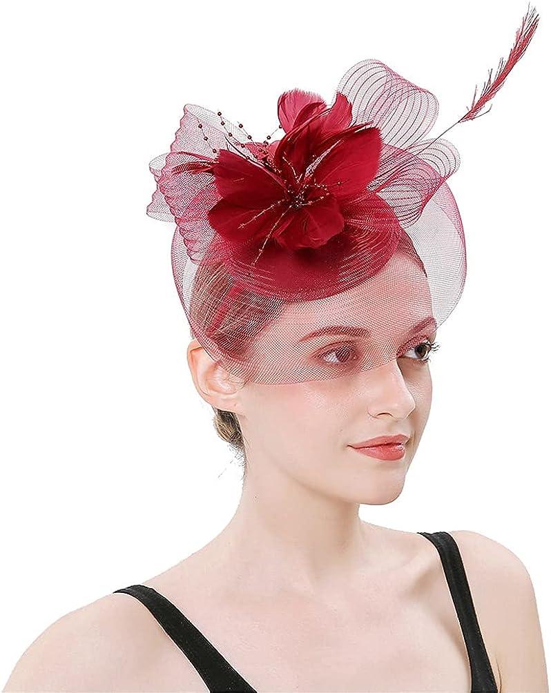 Women's Organza Kentucky Derby Party Mesh Veil Fascinator Cap Clip Bridal Tea Party Wedding Hat Feather Hair Clip Hat
