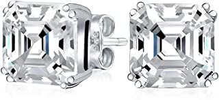 1CT Solitaire Square Asscher Cut CZ Prong Set Cubic Zirconia Stud Earrings For Women 925 Sterling Silver
