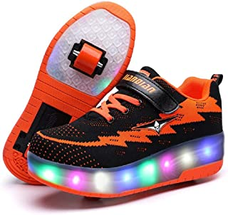 Ufatansy Kids Roller Shoes Girls Roller Skate Shoes Boys Kids LED Light up Wheel Shoes Roller Sneakers Shoes Wheels for Kids Best Gifts