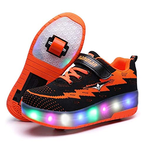Nsasy Roller Shoes Girls Boys Wheel Shoes Kids Roller Skates Shoes LED Light Up Wheel Shoes