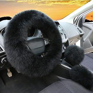3Pcs Set Womens Winter Fashion Wool Fur Soft Furry Steering Wheel Covers Black Fluffy Handbrake Cover Gear Shift Cover Fuz...