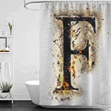 hengshu Letter F Professional Shower Curtain Burning F Syllable Spoken Symbols of Language in Flames Latin Character Decorative Bathroom Curtains W95 x L72 Inch Tan Black Orange