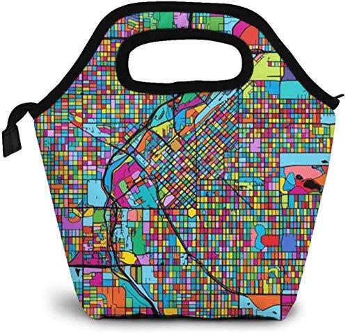 Denver - Bolsa de almuerzo con diseño de mapa colorido y aislante, para picnic, para mujer, niña, hombre y niño